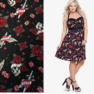 Retro Chic By Torrid pinup Tattoo Halter Dress 16